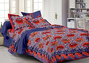 Story@Home 120 TC 100% Cotton Blue 1 Double Bedsheet With 2 Pillow Cover