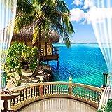 BZDHWWH 3D Große Wand Wandbild Tapete Hd Balkon Fenster Strand Meer Palme Hütte Urlaub Kulisse Benutzerdefinierte Seide Fototapete,250cm (H) x 375cm (W)
