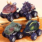 Y56Pull Back Cars Fahrzeuge, Dinosaurier Pull Back Cars Spielzeug Simuliert Dino Dragon Head Big Tire Rad Fahrzeug Mini Monster Auto Cool Play Set Spielzeug Truck für Kinder Kleinkind, 4 Stück