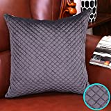 Valery Madelyn Mother' s day Deluxe Grey Cushion Cover Decorative Luster Velvet Solid Pillow Cover with Breathable Quilting Design (45x45cm)