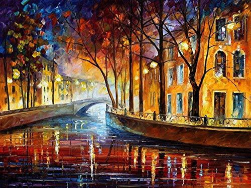 Gemälde nach Zahlen für Wohnkultur Bilder Ölgemälde auf Leinwand Wand Dekor Leinwand Gemälde Bogen Brücke 40x50cm ()