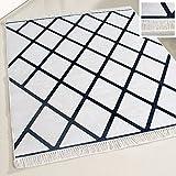 mynes Home Teppich Modern Waschbar mit Latexrücken Anti-Rutsch Schwarz Weiss Kariert Designer Wohnzimmerteppich Badteppich Küche Läufer (80cm x 300cm)
