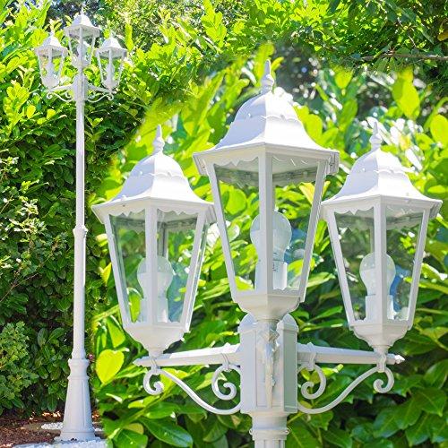 Weisse Außen Laterne mit 3 Armen – Kandelaber aus hochwertigem Aluguss – Wegeleuchte Garten – Außen Sockelleuchte im Vintage Design (Kandelaber Arm 3)