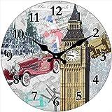 Out of the Blue Glas Uhr London Motive Durchmesser 28 cm, Wanduhr im Vintage Look mit Big Ben und Oldtimer, ausgefallenes Geschenk für England und Retro Fans