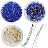 #7: eshoppee blue color glass seed beads & glass fancy beads mixing with necklace earring bracelet making fittings like cotton cord, metal clutch wire,lobster clasps jump ring keel, kunda end lock etc for jewllery making art and craft do it yourself diy kit. (blue family)