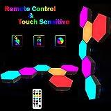 Sechseck Wandleuchte mit Fernbedienung, Smart Touch Modulare LED Licht Wandpanel RGB Nachtlicht DIY Geometrie Spleißen Quantu