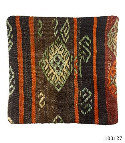 NEU. 100% Wolle Luxus Türkisch Marokkanische bunten Kelim Kissen 40,6cm/40cm Code: 100123
