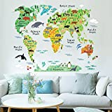 Clest F&H(R)Colorful World Map Animals Wall Stickers Room Decorations Cartoon Mural Art Zoo Kids Room Decals Posters
