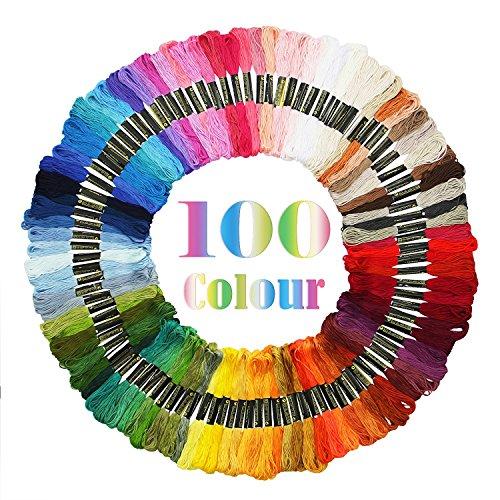 Adkwse Stickgarn,Embroidery Floss Weicher Baumwolle perfekt für Freundschaftsbänder, Stickerei, Kreuzstich (100)