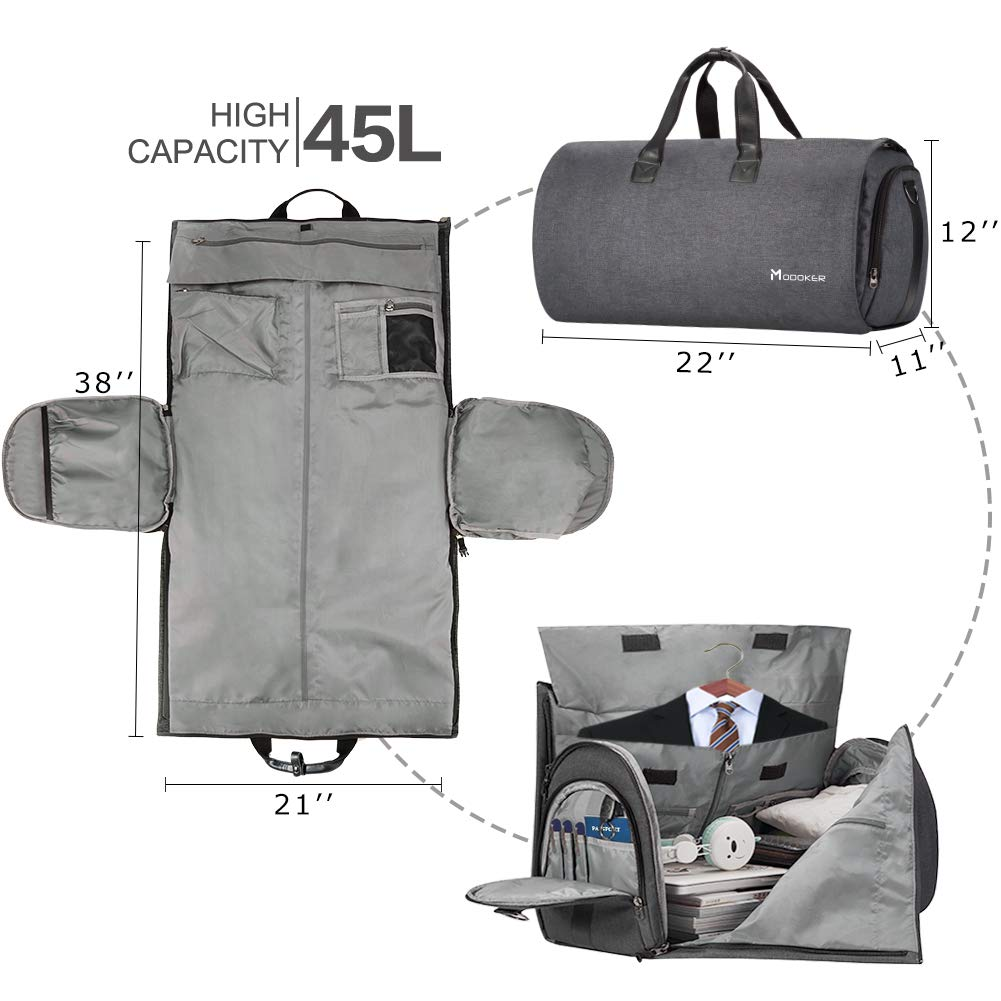385d0087ed27 Convertible Garment Bag with Shoulder Strap, Modoker Carry on Garment  Duffel Bag for Men Women - 2 in 1 Hanging Suitcase Suit Travel Bags -  Luggage ...