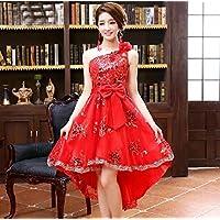 YL LY la Tostada de la Novia Arropa el Vestido de Boda del Verano del Otoño Vestido de Noche Corto Rojo del Cordón Cheongsam del Cordón Rojo,UN,XXL