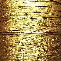 RAFIA - Cinta de papel (25 colores, 25 m de largo, 9 mm de ancho, se despliega hasta 35 mm) Ideal para manualidades, regalo, decoración de flores, álbumes de recortes dorado