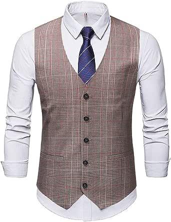 GRMO Men Suit Vest Slim Fit Double Breasted Wedding Dress Waistcoat