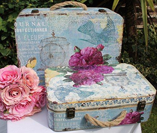 Bauletti contenitori stile vintage, motivo floreale, set da 2