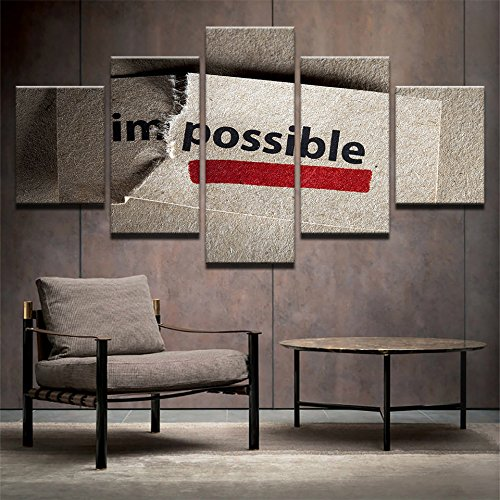 PAINTING Enmarcado lienzos de arte de pared impresiones HD 5 Piezas imposible fotografías inspiradoras letras Quotes Poster Salón decoración,Tamaño mediano