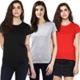 Vansh fashion Women's Solid Regular Fit Half Sleeve T-Shirt (Combo Pack)