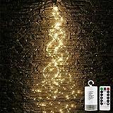 Stringa Luci Led a Batteria di 100 LED 8 modalità di illuminazione IP65 luci Decorative di Fata con Telecomando Timer per Albero di Natale Wedding Festival Party Camera da Letto Decorazione