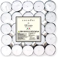Cocod'or Unsented Tealight Candles 100pcs, 4-5 Hour Burm Time, Candele profumate
