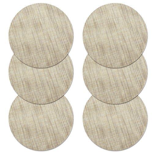 Place Mat, U'Artlines Round-Shapped Crossweave Woven Vinyl Tischset Set von 6 (rund, Creme) (Runde Woven Top)