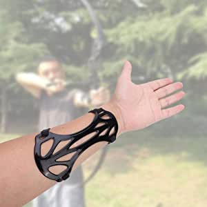Black 3 Strap leather Look Shooting Archery Arm Guard Protection Safe Guard SD