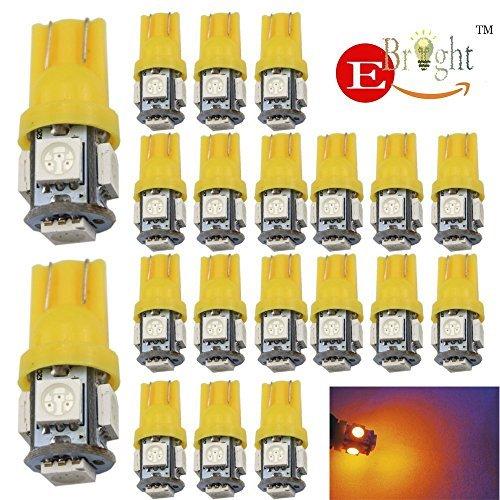 EverBright 20PCS jaune T10 / 194 168 W5W 5 SMD 5050 LED ampoule adaptée pour le remplacement de la voiture s'allume dégagement coin / plaque d'immatriculation / Instrument porte lampe / largeur / lecture lampe intérieur voiture ampoule feux pour toute Interface T10