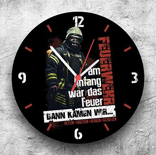 feuerwehr wanduhr Roter Hahn 112 Hochwertige Feuerwehr Wanduhr UhrDann kamen wir/25cm/Geräucharm