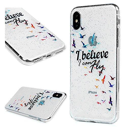 3x Cover iPhone X, Custodia Glitter Brillanti Morbida Silicone TPU Flessibile Gomma - MAXFE.CO Case Ultra Sottile Cassa Protettiva per iPhone X - Modello 1 Modello 3