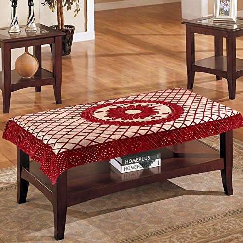 E-Retailer Premium Cotton 4 Seater Centre Table Cover with Flower Design (Color-Red,...