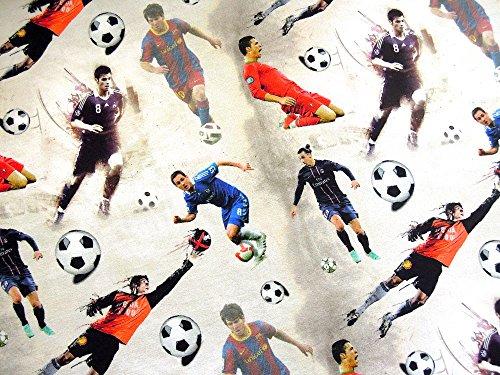 0,5m Jersey Digitaldruck Fußball-Stars Soccer 5% Elasthan 95% Baumwolle Meterware 145cm Breit