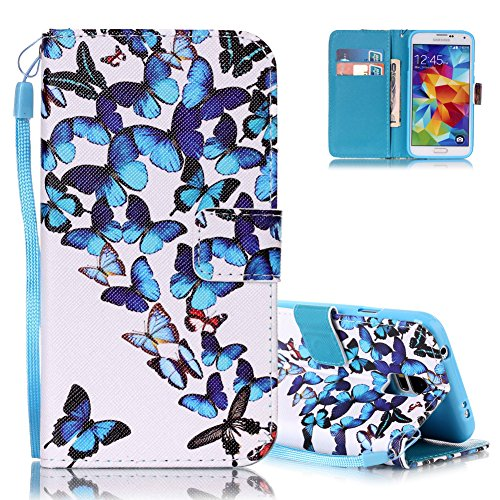 Cover Samsung S5 Bianco, Aeeque Elegante Blu Farfalla da Ballo Dipinto Deisgn Portafoglio Custodia a Libro in Pelle Finta Magnetica Flip Smart Antiurto Resistente Protettivo Caso Rigida per Samsung Galaxy S5/S5 Neo 5.1