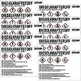 TE-Office 10 Stück GHS Gefahrstoff Gefahrstoffsymbole Etiketten Aufkleber Gefahrstoffkennzeichnung Dieselkraftstoff Diesel Schild 105x74mm Mehrfarbig