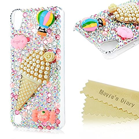 HTC Desire 530 Case - Mavis's Diary Luxury 3D Handmade Bling Case Shiny Diamonds Gems Rhinestone Cover Crystal Sparkly Pearls Ice Cream Clear Hard PC Transparent Protective Case for HTC Desire 530 - Ice