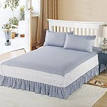 Zhiyuan faldón cama 1 par de fundas de almohada con patrón de puntos 120x200cm gris