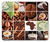 African Maus Pad, Collage Made bodenstehend Kaffee Bohnen und Tassen, Zimt Karten Kontinent Makro Fotos, Standard Größe Rechteck rutschfeste Gummi Mauspad, Braun Grün Weiß