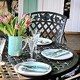Lazy Susan - Sarah 120 cm Runder Gartentisch mit 4 Stühlen - Gartenmöbel Set aus Metall, Antik Bronze (Rose Stühle)