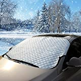 Car Windscreen Ice with Protection, coverage Frost Proof Winter Sunshade for Windscreen Snow, Suitable for most vehicles (100* 147cm) Sheet of Aluminium Add Cotton
