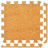 Esterillas de Espuma Conectables con Parte Superior de Corcho - Perfectas para Protección de Suelos, Garaje, Ejercicio, Yoga y Sala de juegos. Espuma Eva (9 azulejos, Corcho)