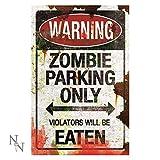 Nemesis Now Pancarte - Panneau Affichage Métal Danger Effet Industriel Usé Parking Zombie (Rouge/Blanc)