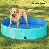 Forever Speed Hundepool Doggy Pool Hunde Swimmingpool Badewanne Pool Planschbecken Φ120 cm, Höhe 30 cm Grün Umweltfreundliche PVC