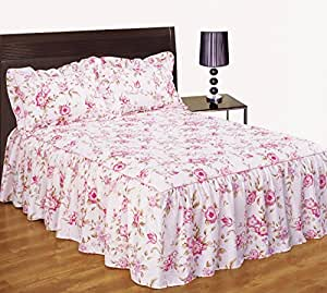 dahlia rose fleurs rose couvre lit jet de lit double avec volants 137 x 190 cm volant env. Black Bedroom Furniture Sets. Home Design Ideas