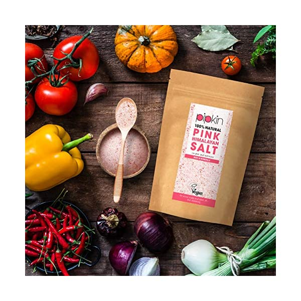 Pipkin Natural Rose Pink Himalayan Salt 500g, Fine Grade 0.3-1mm Size, Premium Gourmet Food Grade A, Pure Unrefined Hand… 2