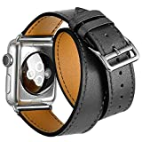 FOTOWELT for Apple Watch Band, Doppel Tour-echtes Leder-Uhr-Band Luxus Cuff Bandwechsel für Apple-Uhr iWatch Modelle 42mm - Grau