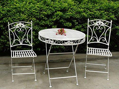 MAXIOCCASIONI Set Table et 2 chaises de Jardin en Fer Blanc