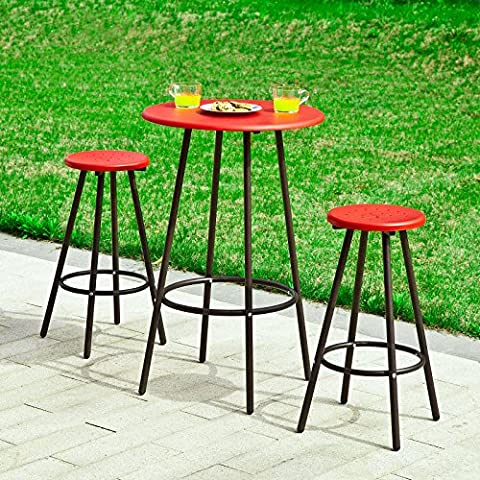 SoBuy® El conjunto 1 mesa redonda bar restaurante y 2 taburetes con reposapiés, establecer taburetes de bar, OGT08-R,