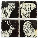 La Finesse 4er Set Glasuntersetzer Untersetzer Stone Coaster Wild Animals Tiermotiv Kork Unterseite