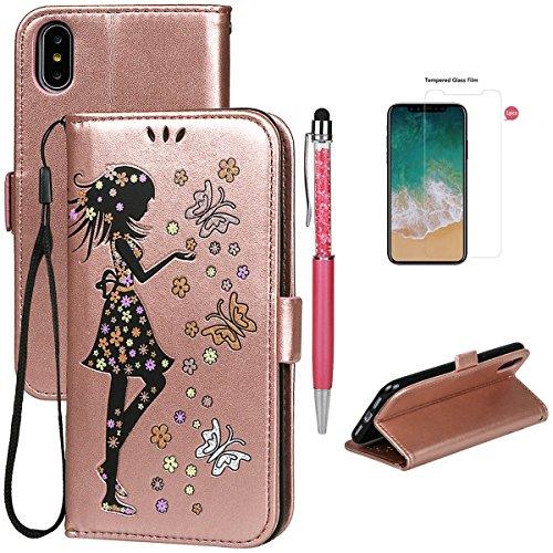 Hülle für iPhone X/10, xhorizon FM8 Brieftasche Schutzhülle, mit Mädchen bedrucktes PU-Leder, umklappbare Brieftasche mit Standfunktion und magnetischem Verschlussdeckel für iPhone X / iPhone 10(2017) Rose-Gold + 9H Tempered Glass Film
