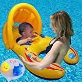 Zicosy Mother & Baby Swimming Float with Inflatable Sunshade Canopy, Swimming Ring, Swimming