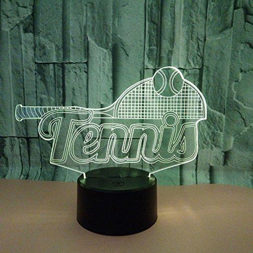 Nachtlampe, neue 3D -Tennis kreative Lampe, bunte Touch Lead Vision, USB -Ladegerät