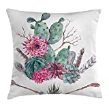 Kaixin J Cactus Decor Throw Pillow Cushion Cover Exotic Natural Vintage Watercolor Bouquet Bohemian Arizona Vegetation, Decorative Square Accent Pillow Case, 18 X 18 inches, Green Pink Brown