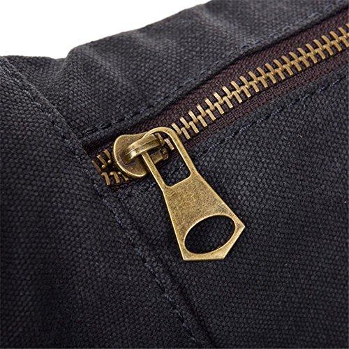OOLIFENG Tela in pelle Retro borsa di tela tasche degli uomini diagonali del pacchetto , black Black